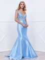 80-8307 V-Neck Prom Dress with Mermaid Hem - Ice Blue, Front View Thumbnail