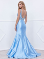 80-8307 V-Neck Prom Dress with Mermaid Hem - Ice Blue, Back View Thumbnail