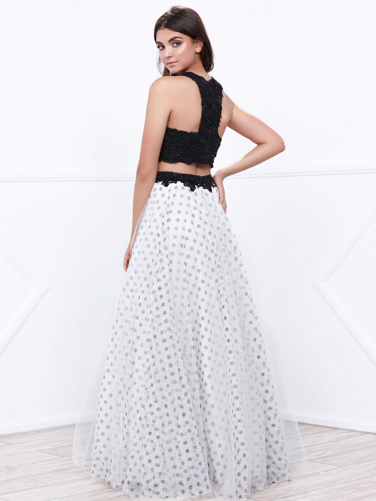 448c70ca8c4 ... 80-8309 Two-Piece Sleeveless Polka Dot Prom Dress - Black White