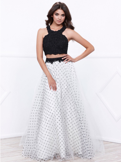 80-8309 Two-Piece Sleeveless Polka Dot Prom Dress - Black White, Front View Medium