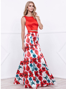 80-8313 Two-Piece Sleeveless Floral Print Prom Dress, Print