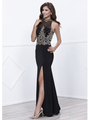 80-8319 Sleeveless Long Prom Dress with Open-Back - Black, Front View Thumbnail