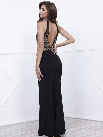 80-8319 Sleeveless Long Prom Dress with Open-Back - Black, Back View Medium