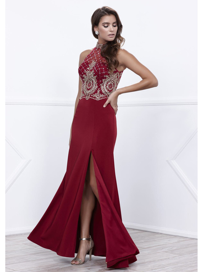 80-8319 Sleeveless Long Prom Dress with Open-Back - Burgundy, Front View Medium