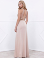 80-8319 Sleeveless Long Prom Dress with Open-Back - Cappuccino, Back View Thumbnail