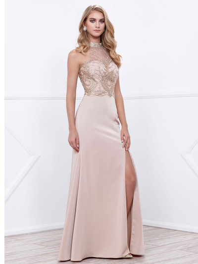 80-8319 Sleeveless Long Prom Dress with Open-Back - Cappuccino, Front View Medium