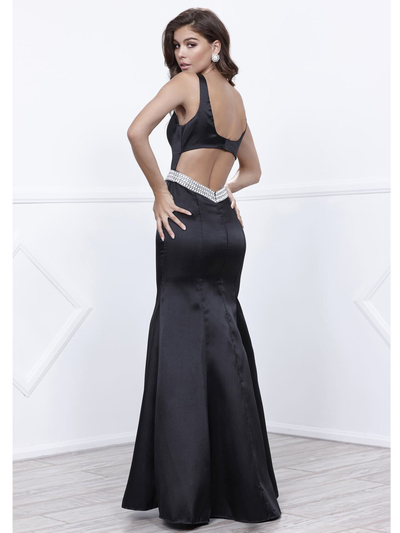 80-8320 Sleeveless Long Prom Dress with Cutout Back - Black, Back View Medium