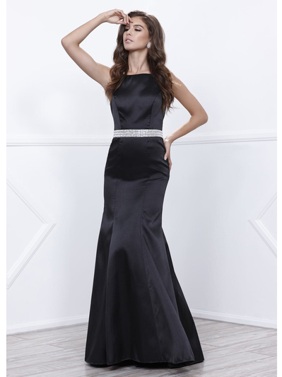 80-8320 Sleeveless Long Prom Dress with Cutout Back - Black, Front View Medium