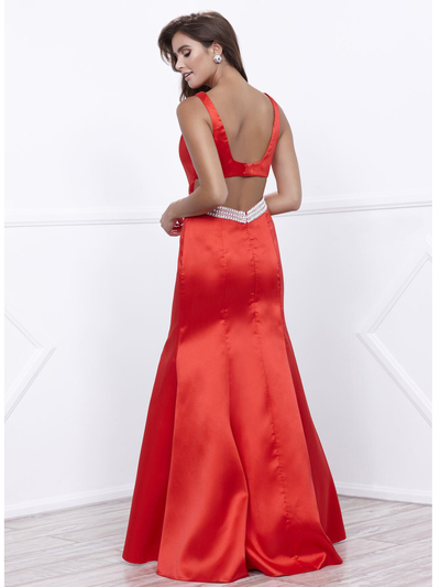 80-8320 Sleeveless Long Prom Dress with Cutout Back - Red, Back View Medium