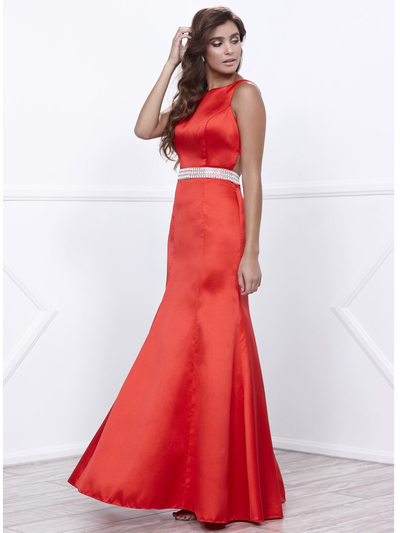 80-8320 Sleeveless Long Prom Dress with Cutout Back - Red, Front View Medium