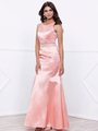 80-8320 Sleeveless Long Prom Dress with Cutout Back - Rose, Front View Thumbnail