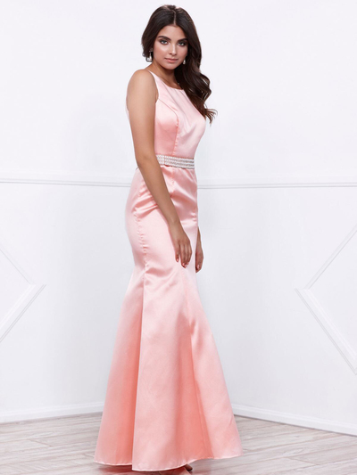 80-8320 Sleeveless Long Prom Dress with Cutout Back - Rose, Back View Medium