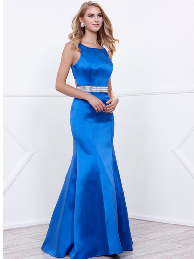 80-8320 Sleeveless Long Prom Dress with Cutout Back - Royal, Front View Medium
