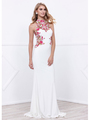 80-8322 Halter Neck Long Prom Dress with Cutout Back - Ivory, Front View Thumbnail
