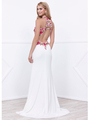 80-8322 Halter Neck Long Prom Dress with Cutout Back - Ivory, Back View Thumbnail