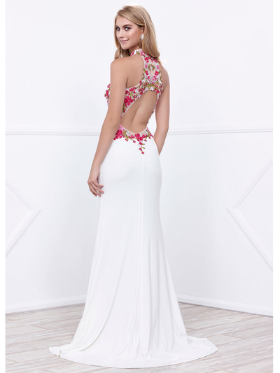 80-8322 Halter Neck Long Prom Dress with Cutout Back - Ivory, Back View Medium
