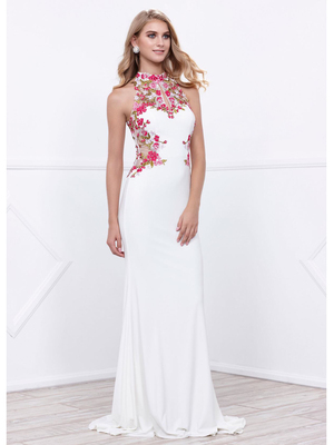 80-8322 Halter Neck Long Prom Dress with Cutout Back, Ivory