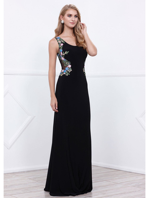 80-8323 Sleeveless Long Prom Dress, Black