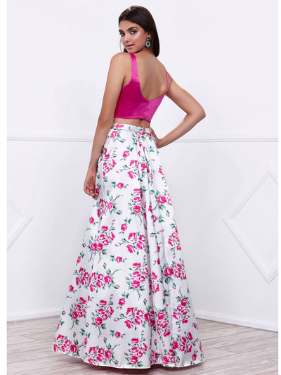 80-8331 Two-Piece Floral Print Prom Dress - Print, Back View Medium