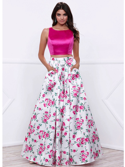 80-8331 Two-Piece Floral Print Prom Dress - Print, Front View Medium
