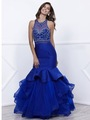 80-8332 Jeweled Illusion Bodice Long Prom Dress - Blue, Front View Thumbnail