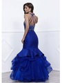 80-8332 Jeweled Illusion Bodice Long Prom Dress - Blue, Back View Thumbnail