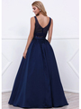 80-8333 Two-Piece Prom Dress with Beaded Bodice - Navy, Back View Thumbnail