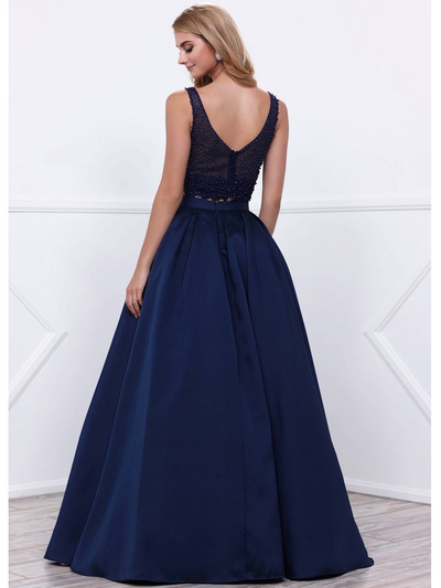 80-8333 Two-Piece Prom Dress with Beaded Bodice - Navy, Back View Medium