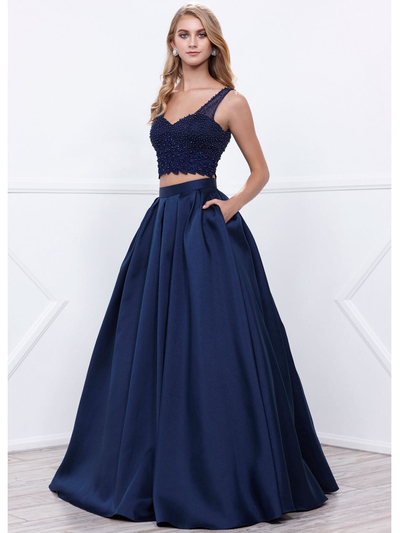 80-8333 Two-Piece Prom Dress with Beaded Bodice - Navy, Front View Medium