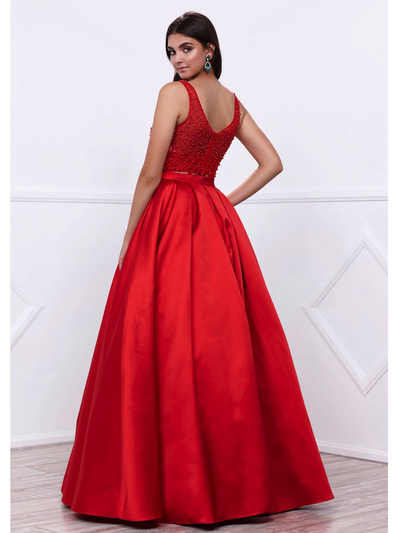 80-8333 Two-Piece Prom Dress with Beaded Bodice - Red, Back View Medium
