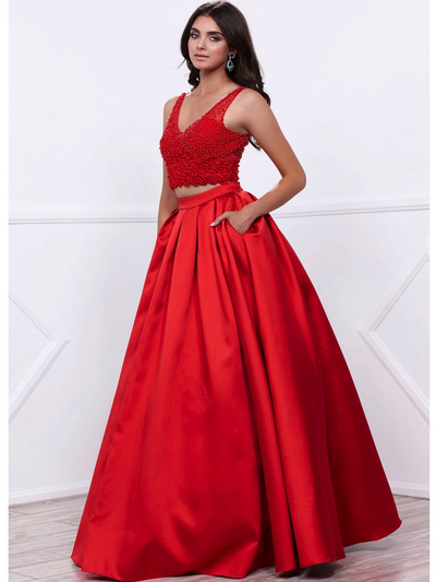 80-8333 Two-Piece Prom Dress with Beaded Bodice - Red, Front View Medium