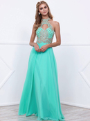 80-8339 High Neck Beaded Bodice Long Prom Dress, Mint Gold