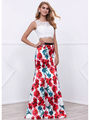 80-8342 Two-Piece Crop Top Long Prom Dress with Floral Printed Skirt - Print, Front View Thumbnail