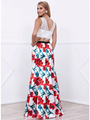 80-8342 Two-Piece Crop Top Long Prom Dress with Floral Printed Skirt - Print, Back View Thumbnail