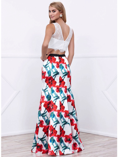 80-8342 Two-Piece Crop Top Long Prom Dress with Floral Printed Skirt - Print, Back View Medium