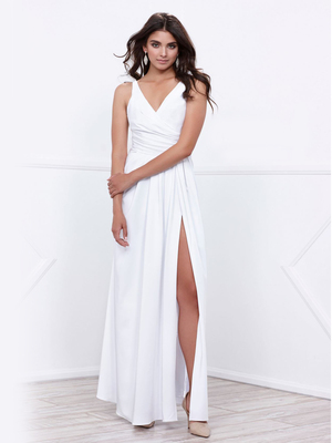 80-8347 V-Neck Long Evening Dress with Slit, White