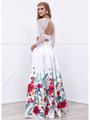 80-8353 Two-Piece Long Sleeve Prom Dress with Floral Print Skirt - Print, Back View Thumbnail