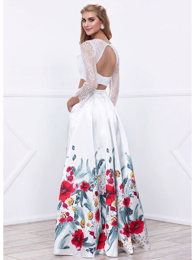 80-8353 Two-Piece Long Sleeve Prom Dress with Floral Print Skirt - Print, Back View Medium