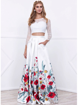 80-8353 Two-Piece Long Sleeve Prom Dress with Floral Print Skirt, Print