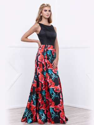 80-8354 Sleeveless Floral Print Long Prom Dress, Print