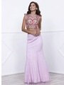 80-8373 Two-Piece Embroidery Crop Top Long Prom Dress - Lilac, Front View Thumbnail