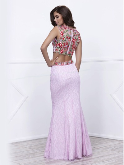 80-8373 Two-Piece Embroidery Crop Top Long Prom Dress - Lilac, Back View Medium