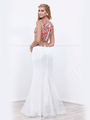 80-8373 Two-Piece Embroidery Crop Top Long Prom Dress - White, Back View Thumbnail