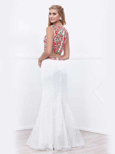 80-8373 Two-Piece Embroidery Crop Top Long Prom Dress - White, Back View Medium