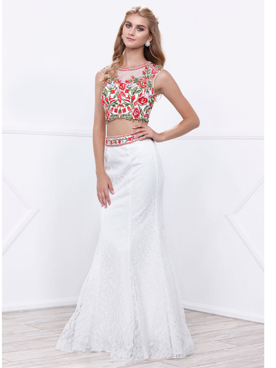 80-8373 Two-Piece Embroidery Crop Top Long Prom Dress - White, Front View Medium