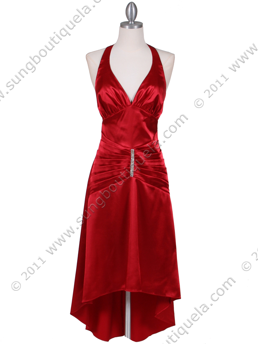 Red Satin Halter Cocktail Dress Sung Boutique L A