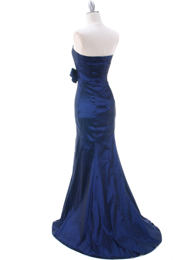 8034 Navy Evening Gown - Navy, Back View Medium