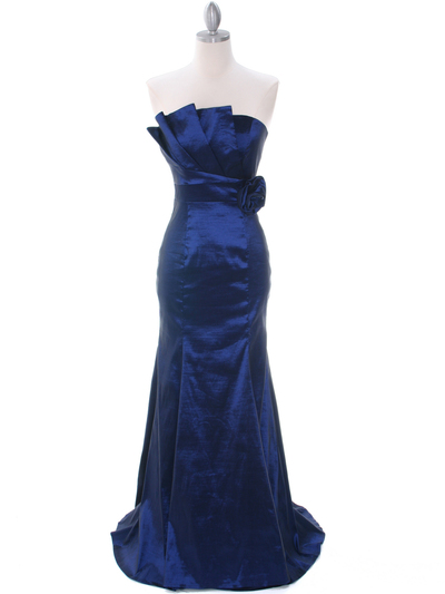 8034 Navy Evening Gown - Navy, Front View Medium