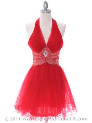 8038 Red Cocktail Dress, Red