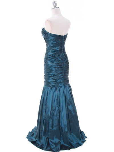8040 Teal Prom Gown - Teal, Back View Medium